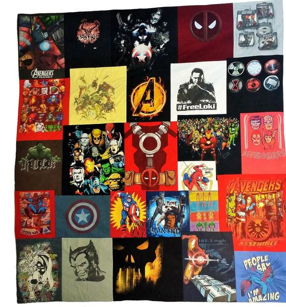 Marvel t-shirts made into a quilt. Comic book bedding.