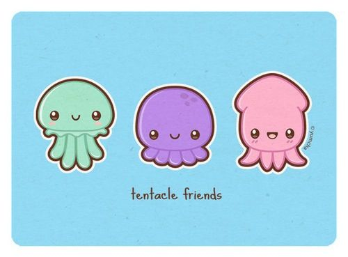 Cute kawaii draw illustration jellyfish pinterest for Cute octopus drawing