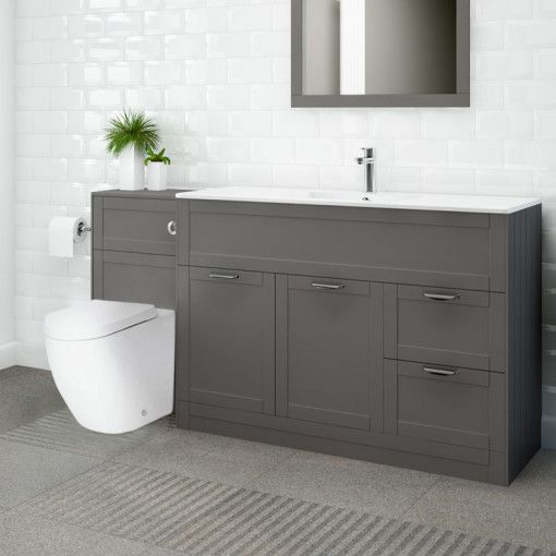 Nottingham 1000 Grey Combination Unit With Venus Back To Wall Toilet And Seat Back To Wall Toilets Fitted Bathroom Furniture Grey Bathroom Furniture