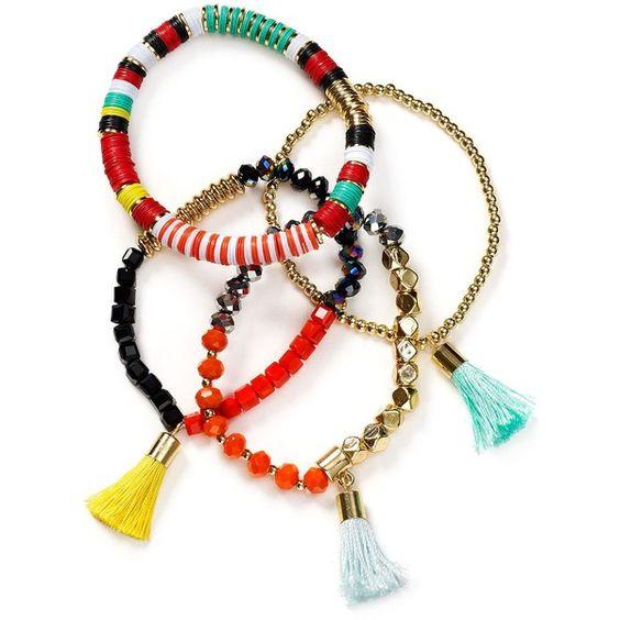 Baublebar Maldives Bracelets, Set of 4 (3.980 RUB) ❤ liked on Polyvore featuring jewelry, bracelets, orange multi, orange jewelry and baublebar jewelry