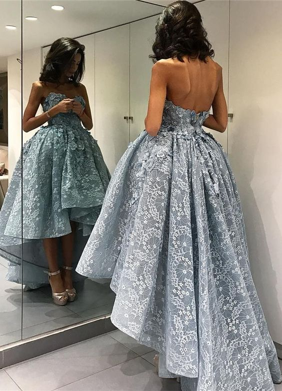 2017 prom dresses,prom dresses,fancy prom dresses,hi-low prom dresses,lace prom dresses,elegant party dresses with appliques,vestidos,klied,fashion,women fashion: