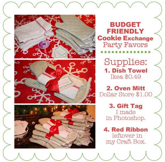 Cookie exchange party- lots of great ideas including these budget friendly great party favors