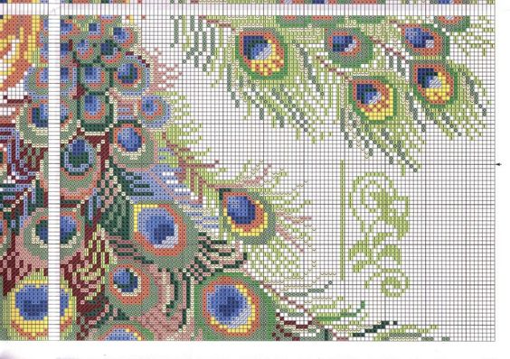 FREE CROSS STITCH CHARTS: BIRDS ~~ TWO PEACOCKS  PG 6 OF 8