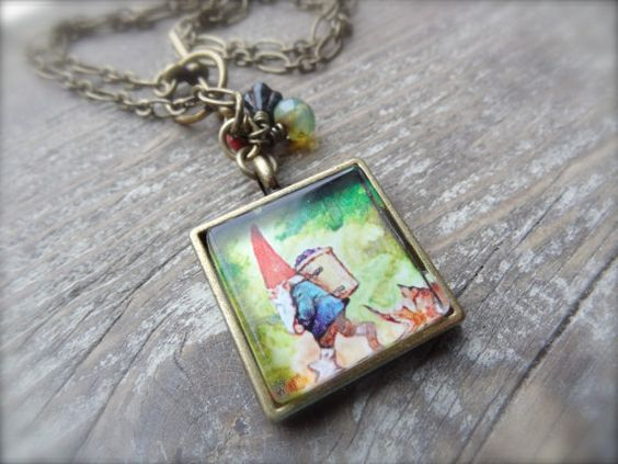 Gnome Sweet Gnome Necklace on Antique Brass Chain by Kitschish, $24.00