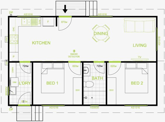 Granny flat plan 60 square meters google search my for Modern house design for 60 sqm lot