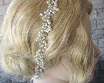 Rhinestones headpiece wedding headband bridal by PRIVATEBRIDES
