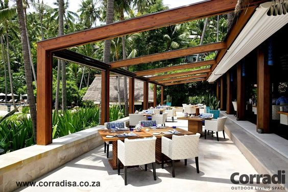 Wood pergola with retractable roof by corradi italy five for Outdoor furniture samui