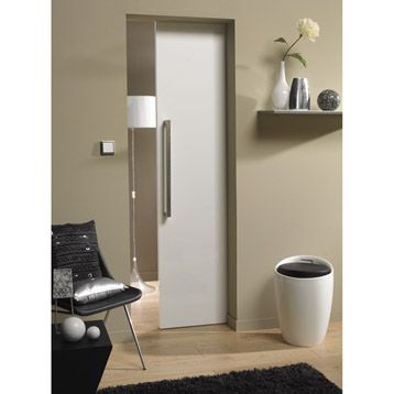 Porte coulissante glossy white pleine artens 204x83cm leroy merlin arred - Porte coulissante pleine ...