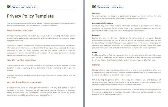 Privacy Policy Template - A template to assist you with crafting a - business non compete agreement