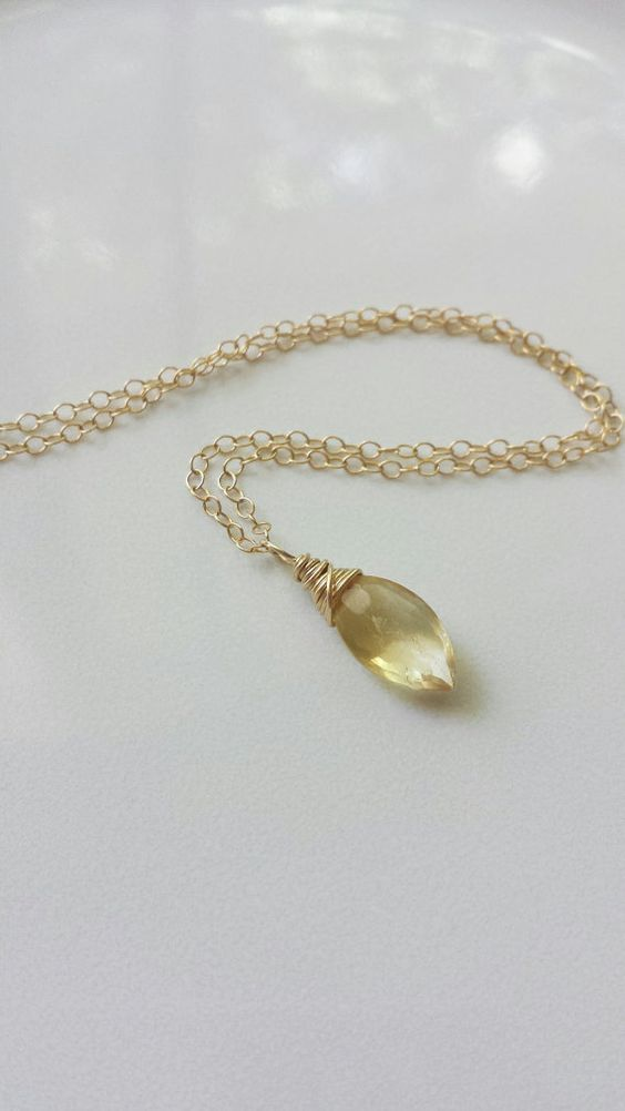 Citrine Necklace 14k Gold Filled Necklace Gold by BlackwoodArts