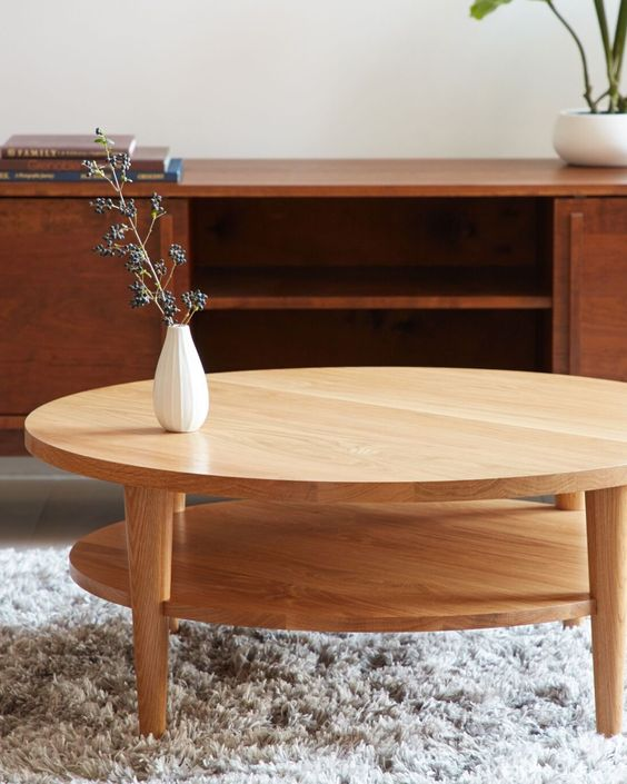 Round Coffee Table Oxelaand White Oak Etsy In 2020 Coffee Table Scandinavian Coffee Table White Oak Coffee Table