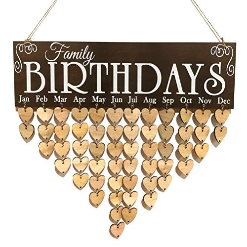 WINOMO Wooden DIY Calendar Hanging Plaque Board Family Birthday