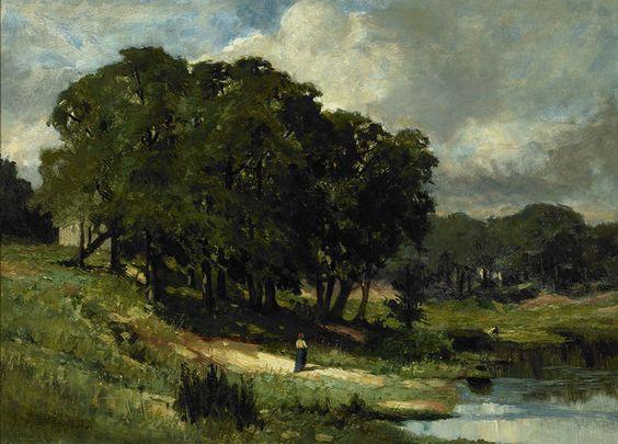 Edward Mitchell Bannister - Woman Standing Near a Pond, 1880