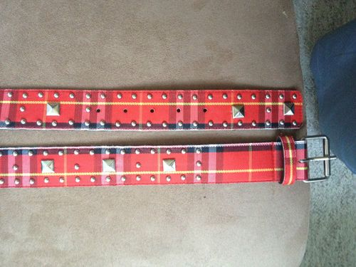 Cute and Fun Red Plaid Studded Belt - Women's Size 9 or 40""