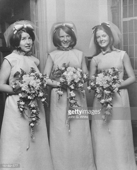 Bright Turquoise Gowns Worn by Attendants; Three of the bridesmaids at the evening ceremony were, from left, Miss Judith Muse, Miss Colleen Currigan of Encino, Calif., and Miss Ann Douden. Their...: