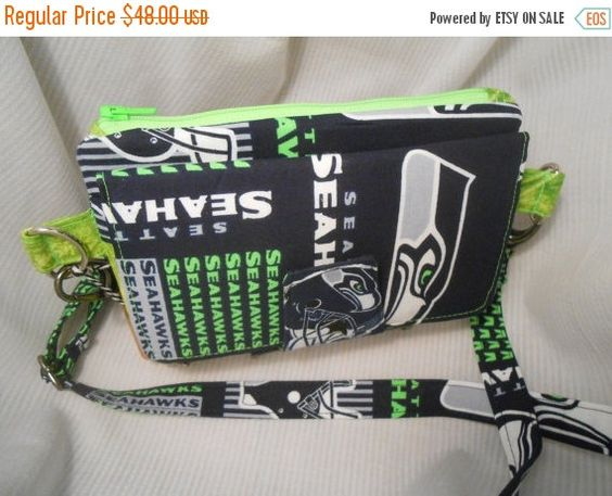 HOLIDAY SALE Seattle Seahawks Crossbody Wallet Clutch, Womens Wallet, Crossbody Clutch, Wallet with Phone Compartment, Seahawks Gift, Seahaw - pinned by pin4etsy.com