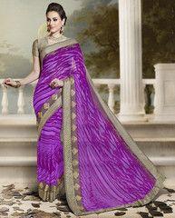 Purple Color Georgette Party Wear Sarees : Archana Collection  YF-41843