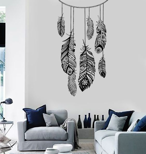 Mural vinyle autocollant dreamcatcher dream catcher chambre ethnique plume decor mural art for Autocollant decoratif mural