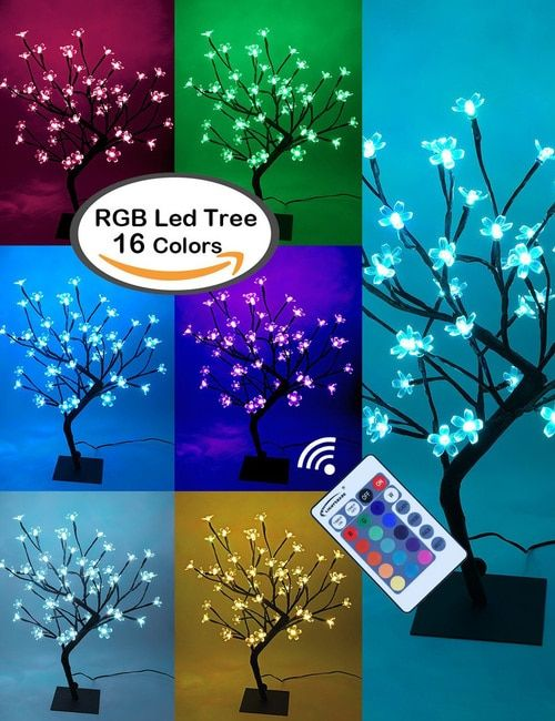 Cherry Blossom Lighted Tree Five Feet Warm White Color Changing Modes Cherry Blossom Bonsai Tree Cherry Blossom Light Tree Bonsai Tree