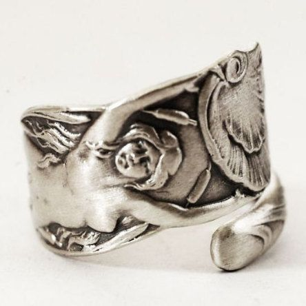Little Mermaid Ring Small Sterling Silver Spoon Ring by Spoonier