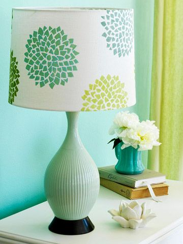 make a plain shade into something fun with rubber stamp: