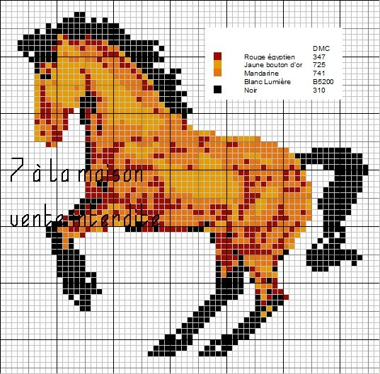Grille Gratuite Cheval Cross Stitch Cross Stitch