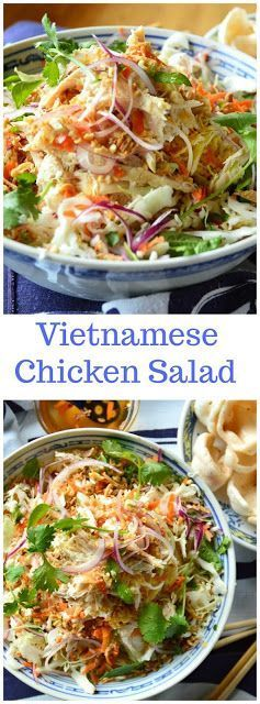 """Vietnamese Chicken Salad or """"Goi Ga"""" is an easily prepared cabbage salad, made with rotisserie chicken and lots of herbs, topped with peanuts and fried shallots, and dressed with a sweet and tart spicy dressing. #salads #chickensalad #Vietnamesefood See m"""