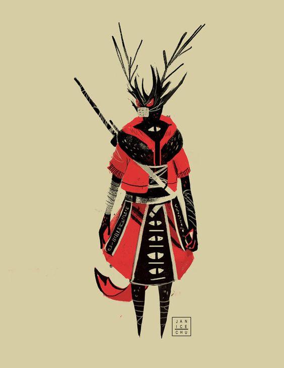 Deer Warrior, Janice Chu on ArtStation at https://www.artstation.com/artwork/deer-warrior-9a41d1b9-204f-4abb-9e14-3ee261c640e4