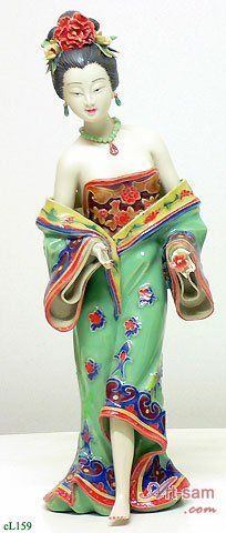 Ancient Chinese Lady - Shiwan Ceramic Lady Figurine : Art-sam.com