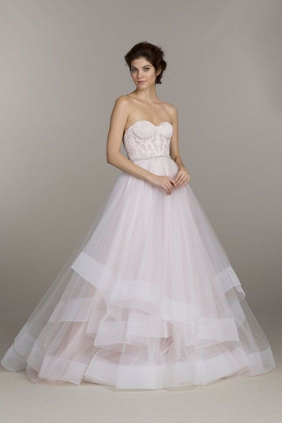 Strapless sweetheart Tara Keely Wedding Dress with layered tulle skirt