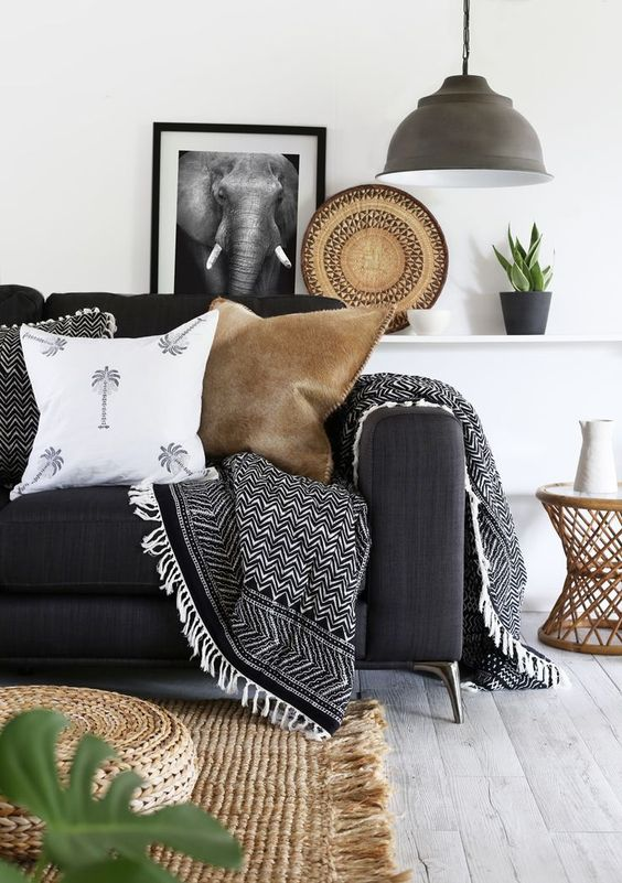 Paisley Thirteen LR black and white with neutral tones brought in with natural weaving. We sell baskets like that!: