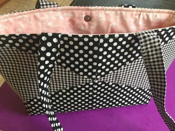 Handmade Patchwork Handbag. Black and White, Gingham and Spots