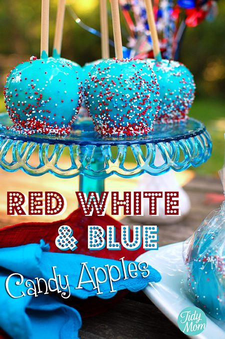 Red White and Blue Patriotic Candy Apples via @Cheryl Tidymom