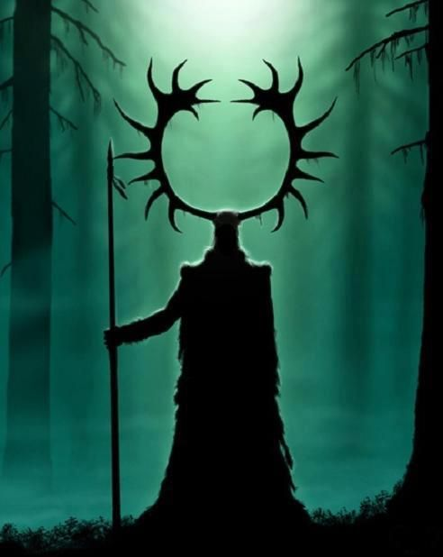 Tapio, Finnish lord of the forest, son of Louhi, father of the seeda, immortal among his mortal kin. In the early days of the world he hunted down the fearsome Elk of Tuonela and still wears its antlers on his head to honor the goddess of death who granted him his immortality. He knows the fathers and mothers of all animals and is the teacher of hunters. He helps those who listen, but those who do not will find their traps empty.