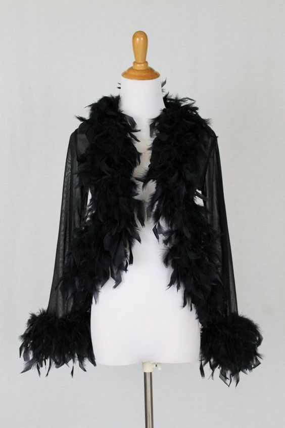Georgette 1930's Deco Inspired Black Ostrich Feather Trimmed Illusion Jacket S #Georgette #EveningJacket #EveningOccasion