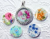 Floating Locket Plate, Memory Locket Plate, China Charm Back Plate, Hand Made Your Choice of China Pattern