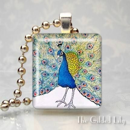 Peacock Feather Scrabble Tile Pendant $8.95 www.allthingspeacock.com - Peacock Necklaces