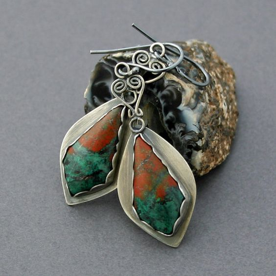Sonoran Sunset Chrysocolla Earrings Silver by caroleaxium on Etsy, $89.00