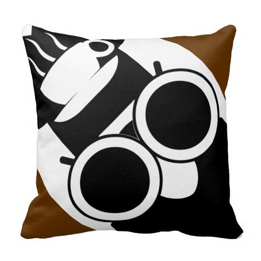 Owl Wearing Chef Hat W/ Coffee Cup On It STRETCHED Throw Pillow  Pillows: [ http://vintagehootowl.com/Owl-Pillows/index.php ]  Official Website: [ http://vintagehootowl.com/ ]