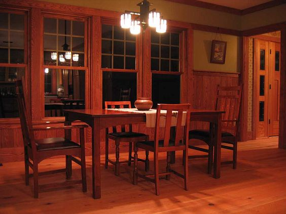 Picture rail wainscoting and dining rooms on pinterest for Craftsman picture rail