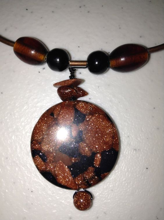Compressed Goldstone Memory Wire Necklace by CabochonsByBev, $10.00