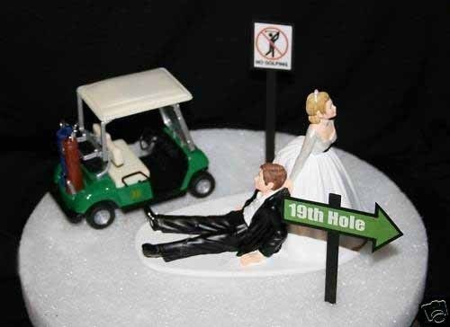 NO Golfing BRIDE And Groom GOLF Cart BAG CLUB Wedding Cake Topper FUNNY