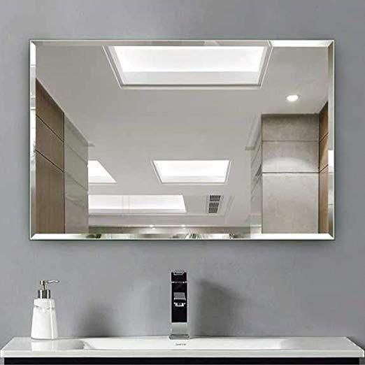 Amazon Com Hans Alice Beveled Bathroom Mirrors Wall Mounted Modern Frameless Mirror For Mirror Wall Bathroom Beveled Mirror Bathroom Modern Frameless Mirrors