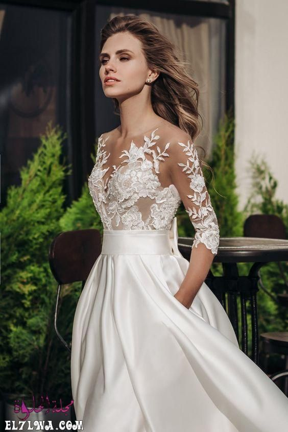فساتين زفاف فخمه 2021 اجمل فساتين زفاف 2021 ترغب كل فتاة في الظهور بإطلالة ملكية فخم Embroidered Lace Wedding Dress Wedding Dress With Pockets Wedding Dresses