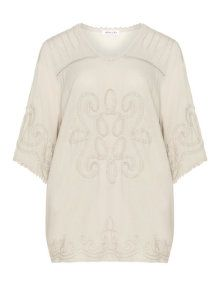 Mona Lisa Embellished cotton tunic in Taupe-Grey