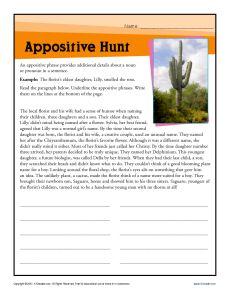 Appositive Hunt | Worksheets, Free Printable Worksheets and Hunt's