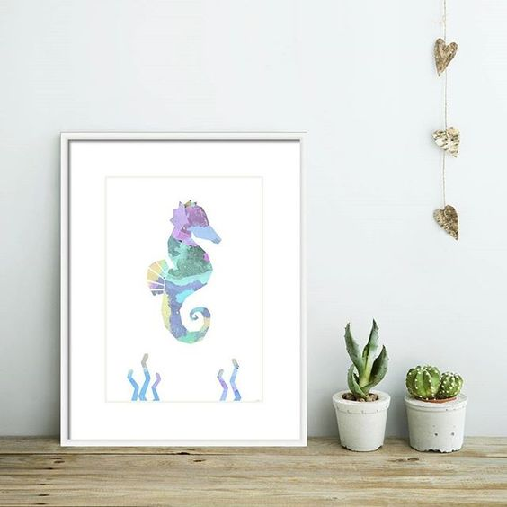Oh I love this little seahorse print. Search 'seahorse watercolour' on dtll.com.au or click on the shopable link in our profile #dtll #downthatlittlelane