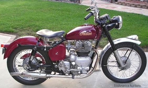 This 1956 Indian Trailblazer was actually a Royal Enfield Meteor-style 700cc twin, imported to the US by Indian and rebadged as an Indian Motorcycle.