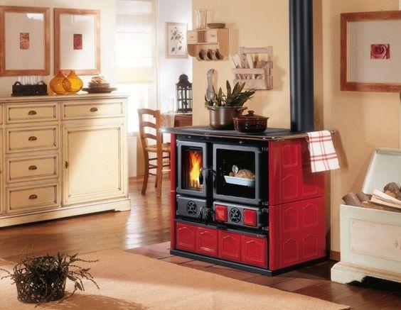 "La Nordica ""Rosa Maiolica Bordeaux"" Wood Burning Cooking Cook Stove 22K Btus | eBay"