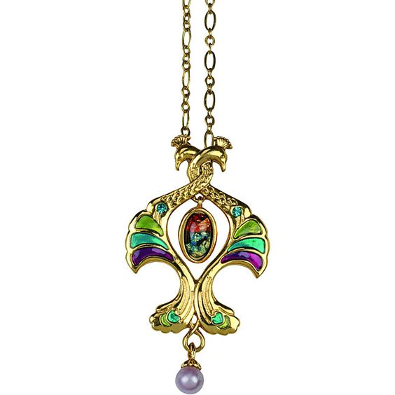 Goldtone Pewter CZ Double Peacock Art Deco Vintage Necklace - Overstock Shopping - Big Discounts on Pewter Necklaces